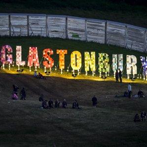 Glastonbury festival sign 2015