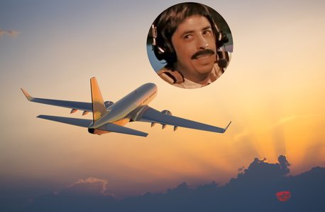 Plane in the sky with Big Dave Grohl as a pilot