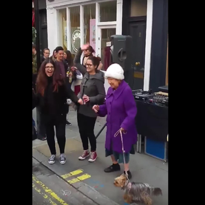 Elderly Woman Dances To Daft Punk in London