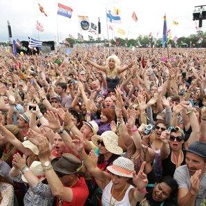 Glastonbury Festival crowd Pyramid Stage