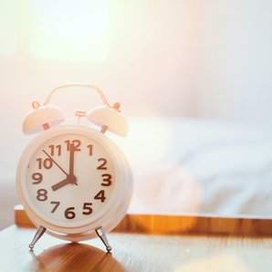 Bed alarm clock stock image