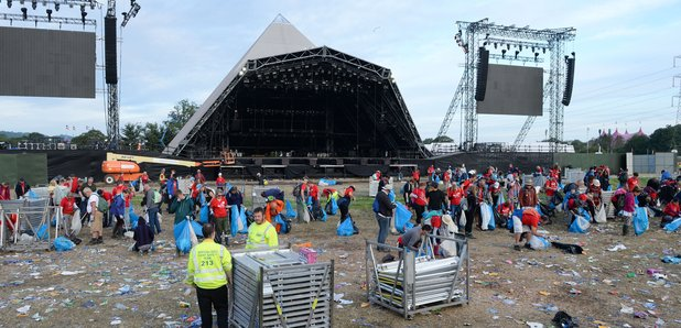 Glastonbury Festival Clean Up Monday Morning 2017